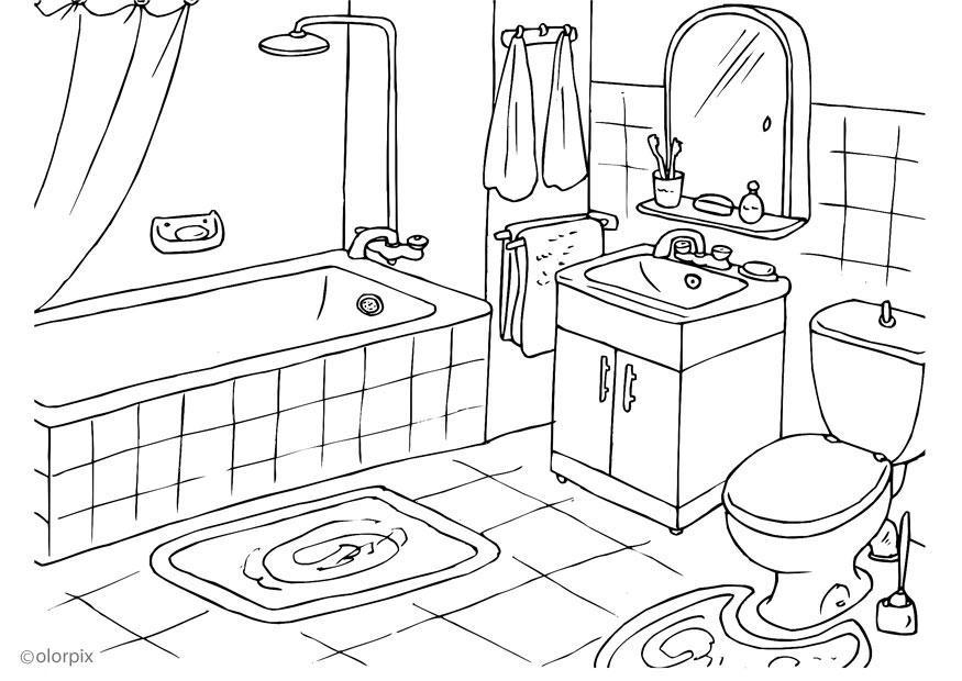 Water Cuarto De Baño:Bathroom Coloring Pages