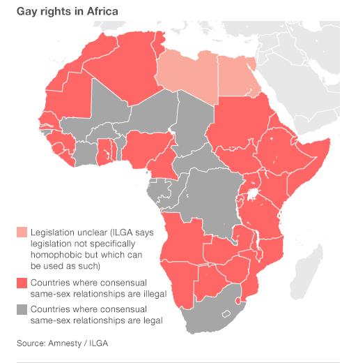 mapa de los derechos de homosexuales y lesbianas en Africa