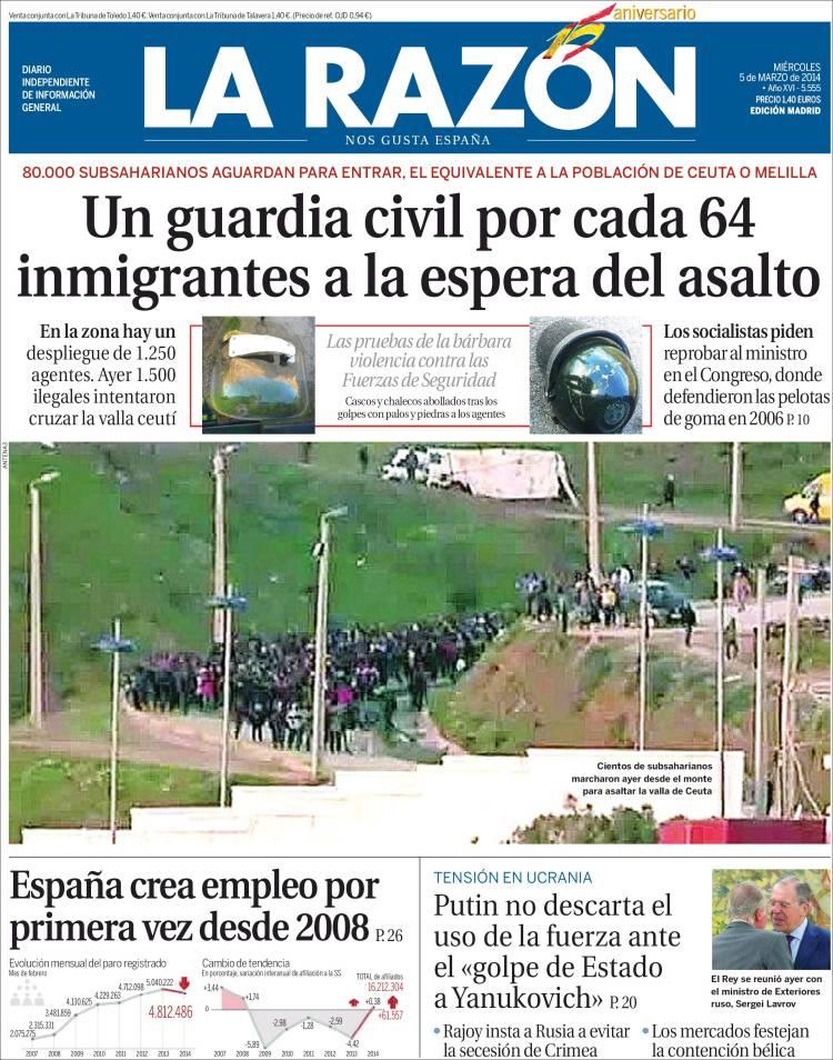Portada de La Razón del 5 de marzo de 2014