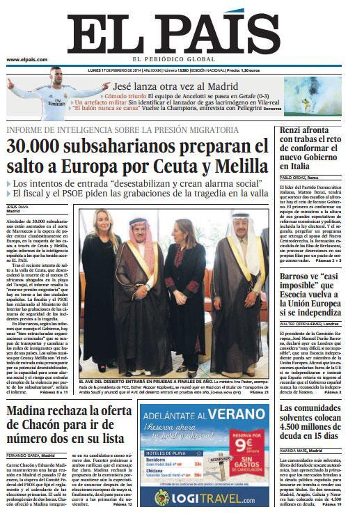 Portada de El País del 17 de febrero de 2014